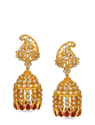 Tanishq Gulnaaz Yellow Gold Earrings - 2
